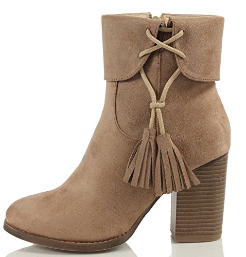 MAH Women's Closed Toe Faux Suede Tassel Chunky Stacked Heel Ankle Bootie
