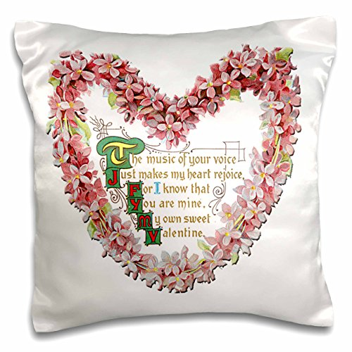 3dRose BLN Victorian Valentines Day Card Reproductions - Victorian Pink Flowered Heart with a Valentines Day Poem - 16x16 inch Pillow Case (pc_170009_1)