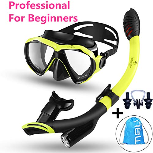 Snorkel Package Scuba Equipment - integity Snorkel Set, Anti-Fog Snorkel Mask Impact Resistant Panoramic Tempered Glass,Innovative Water-Air Separated Anti-Leak Dry Snorkel Set,Free Breathing Diving Mask Adjustable Straps Youth Adult
