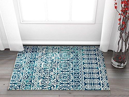 Well Woven Signora Blue Vintage Floral Tile Design Short Pile Kilim-Style Modern 2x3 (2' x 3') Area Rug Multicolor Pattern