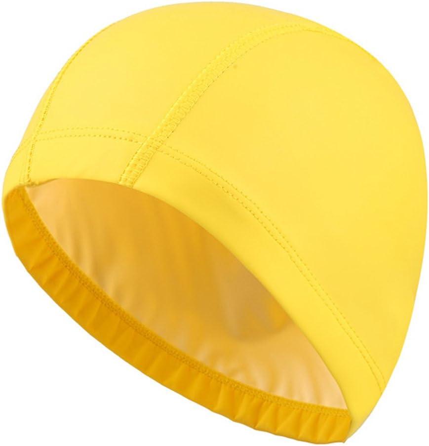 Isuper -Gorro de Natación Tela,Gorro de Piscina Unisex Respirable Tela y Impermeable PU Protección de Orejas para Hombre y Mujer(Amarillo)