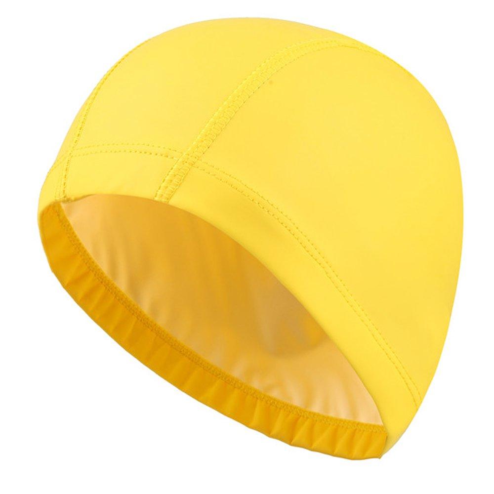 Isuper Bonnets de Natation pour Femmes Hommes Jaune Chapeau de Natation Bonnet de Bain Bonnet de Bain