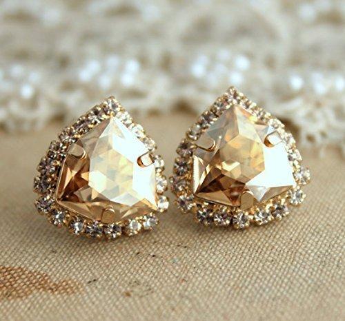 Bridal Topaz Stud Earrings, Swarovski Champagne Crystal Bridesmaids gifts, Handmade Wedding Jewelry