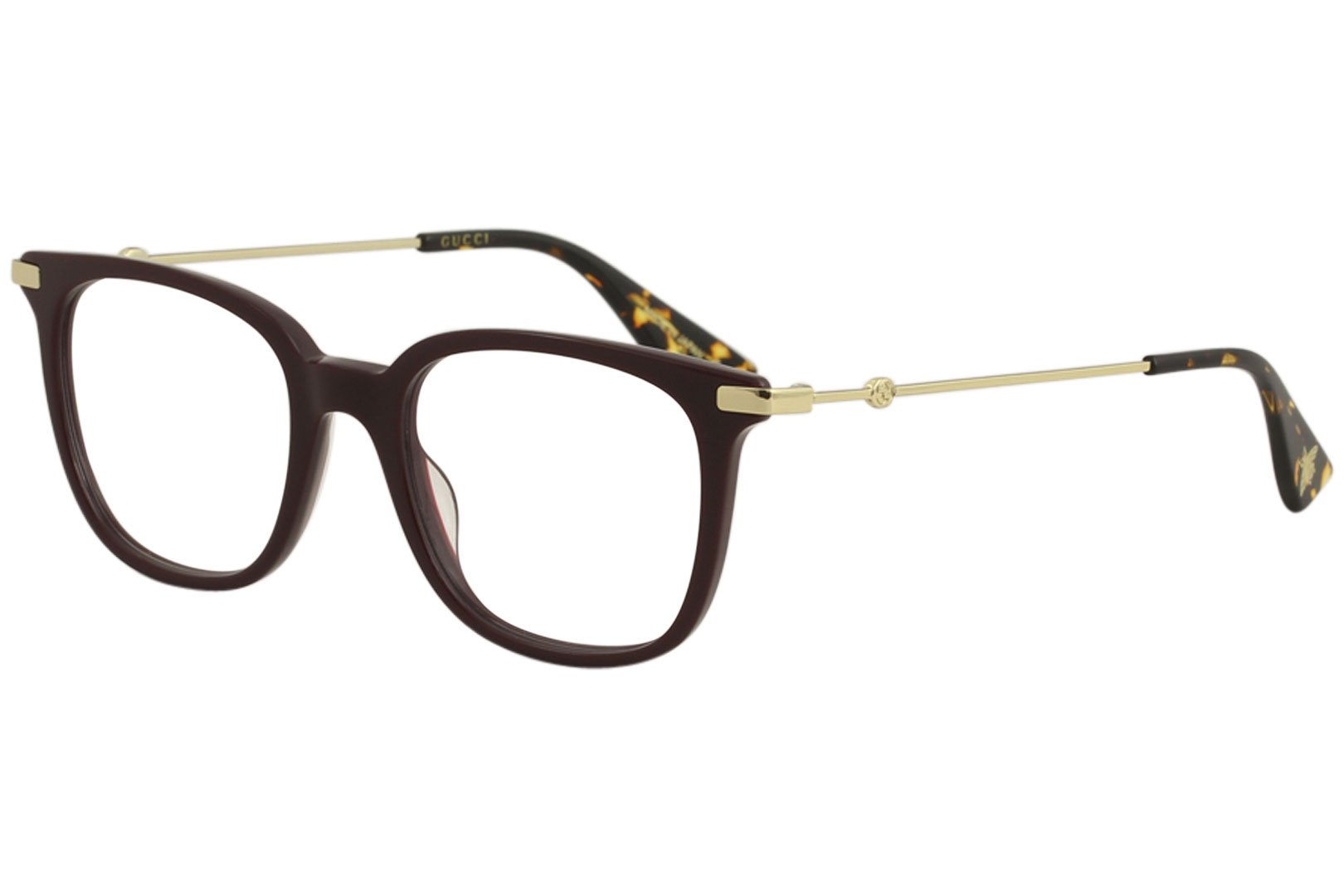 Gucci Women's Eyeglasses GG0110O GG/0110/O 006 Burgundy/Gold Optical Frame 49mm