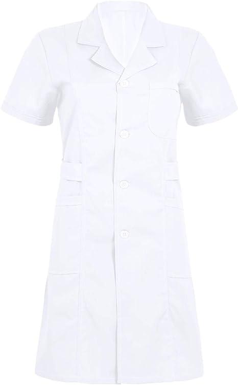 Freebily Uniforme Sanitario Mujer Blanco/Rosa/Azul Talla Grande Disfraz de Enfermera Casaca Bata Laboral de Trabajo Veterinaria Hostelería: Amazon.es: Ropa y accesorios