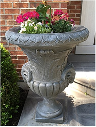 Set of 2 Limestone Finished Outdoor Decorative Urn Planters 37