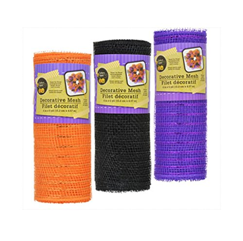 Decorative Mesh Rolls for Decorating and Crafting (3 Rolls, Orange Black Purple)