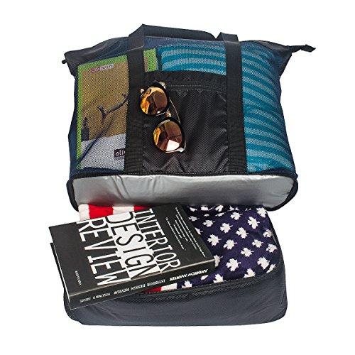 Fency Beach Bag Mesh 2-in-1 Tote Drinking Cooler Family Shoulder Handbag Zipper (Black) (Basket Picnic Bahamas Tote Cooler)