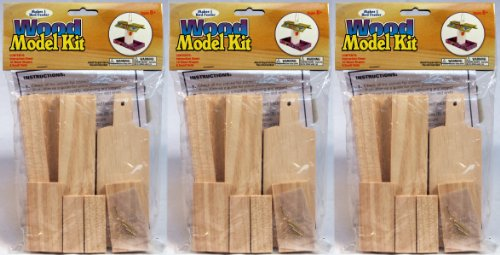 Schrodt Wood (Creative Hobbies® Wooden Model Kit Bird Feeder - Wholesale Lot of Ready To Finish 3 Kits)