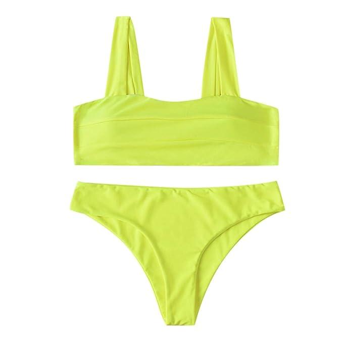 Bikini barato amarillo fluorescente para mujer