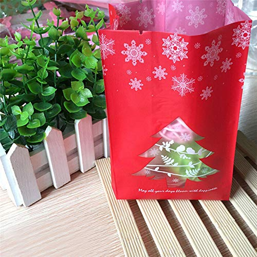 (XLPD 50Pc Frosted Bags Red Green Christmas Tree Snowflake Biscuit Party Candy Packing Bagschristmas New Year Gift Bags Red)