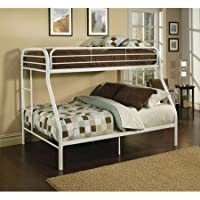 Twin Over Full Metal Bunk Bed, Multiple Colors (White)