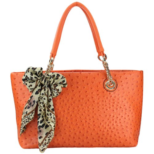Print Large Shopper Handbag (MG Collection Ostrich Shopper Shoulder Bucket Bag, Orange, One)