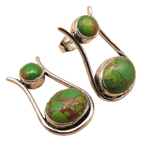 925 Sterling Silver Plated Real Cab GREEN COPPER TURQUOISE UNUSUAL Studs Posts Earrings Brand New