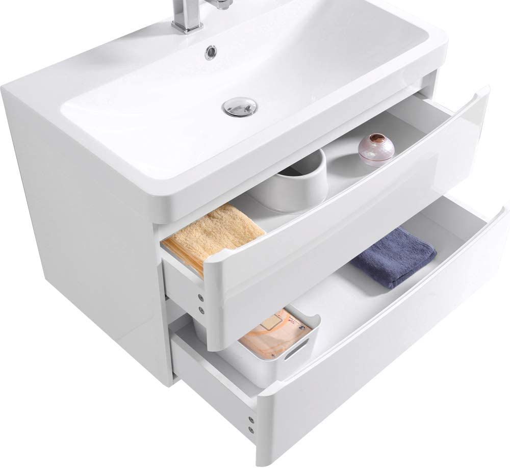 NRG Wall Mounted Vanity Sink Unit Basin Bathroom Drawer Storage Furniture 800 mm Gloss White