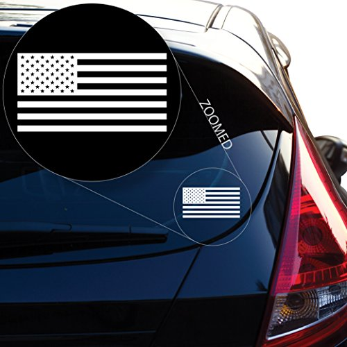 (Yoonek Graphics American Flag United States Decal Sticker for Car Window, Laptop, Motorcycle, Walls, Mirror and More. # 559 (White, 6