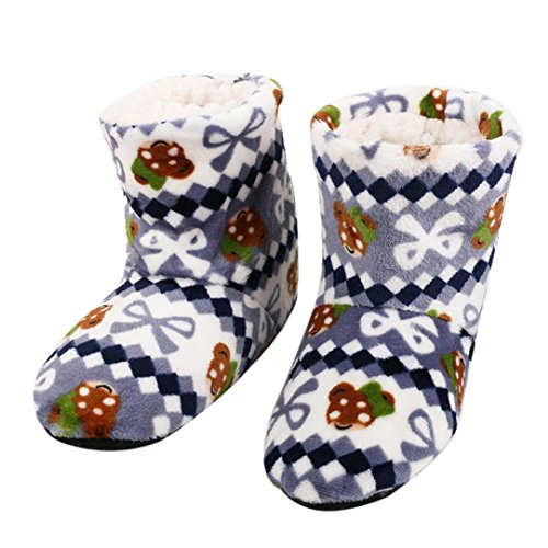 Plush Boots Soft Women Lined Slippers Fleeces Christmas Booties Gray Indoor SUKEQ Slippers Cotton Warm Flat xaw8qFqzY