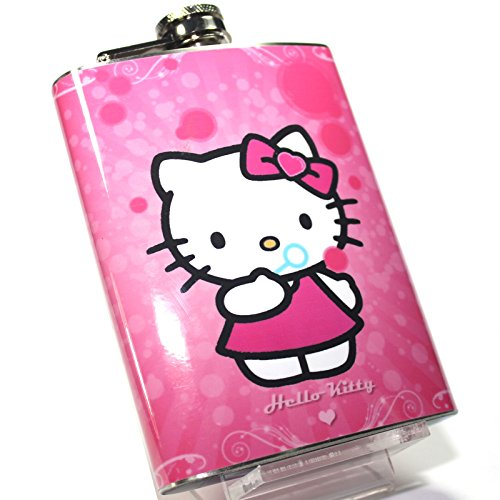 Hello Kitty Hip Flask S3 - 8oz. - High Quality Stainless Steel - Hinged Screw Cap - Boxed -