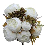 Kaimao Artificial Peony Flowers Bouquet / Fake Peony Flower Arrangement for Wedding Party Home Decoration - White