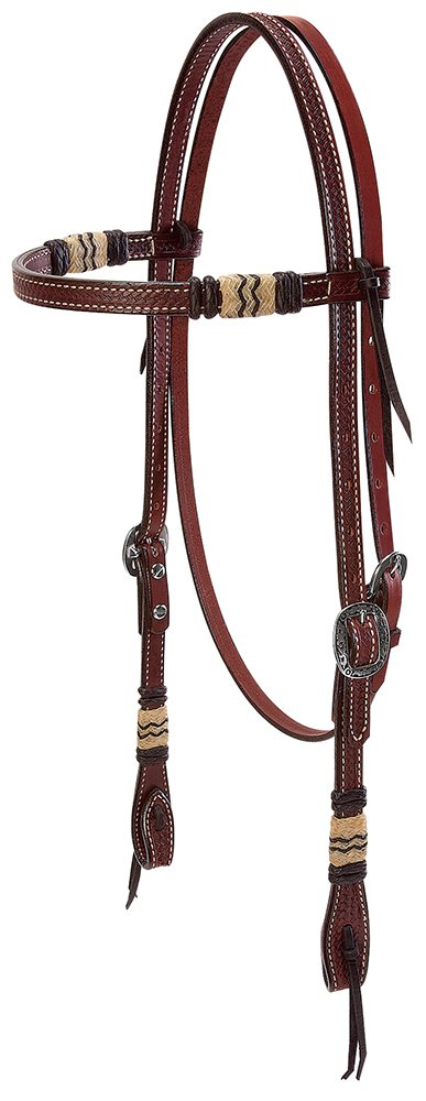 Weaver Leather Basketweave Bridle Leather Browband Headstall with Rawhide Accents