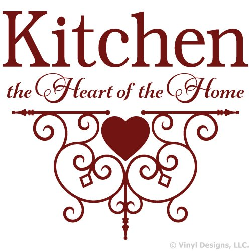Kitchen the Heart of the Home Quote Vinyl Wall Decal Sticker Art, Home Decor, Burgundy