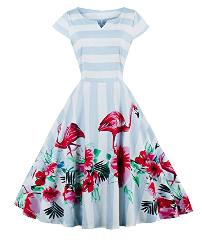 (FAIRY COUPLE Vintage Rockabilly Flamingo Floral Cap Sleeves Casual Dress 3XL)