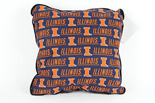 FKS Cushions, Etc. UNIVERSITY OF ILLINOIS PILLOW-ILLINOIS FIGHTING ILLINI THROW PILLOW-ILLINOIS ACCENT PILLOW