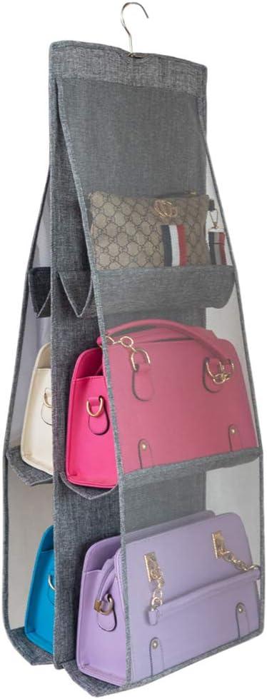 ALYER Hanging Handbag Organizer,Breathable Mesh Purse Collection Storage Holder, Wardrobe Closet Space Saving Organizers System with 6 Easy Access Pockets (Gray)