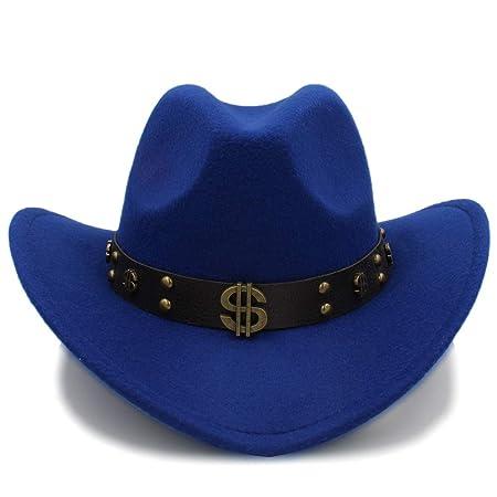50cbfedf7fa HXGAZXJQ Winter Mens Women Wool Felt Cowboy Hats With Leather Band Chapeu  Masculino (Color   Blue