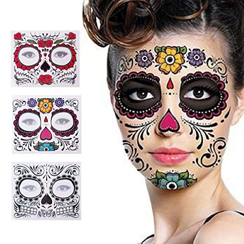 3 Pack Halloween Face Tattoo Sticker Glitter Red Roses Day of The Dead Sugar Skull Temporary Tattoo for Halloween, Masquerade and Parties