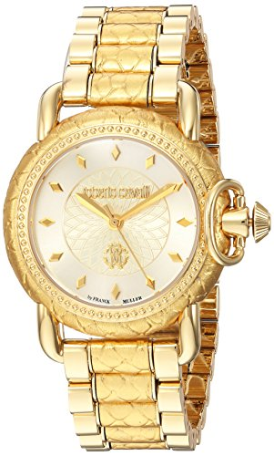 Ladies Franck Muller - Roberto Cavalli by Franck Muller Women's 'Moving Crown Detail' Quartz Gold-Tone-Stainless-Steel Casual Watch, Color:Gold (Model: RV1L017M0126)
