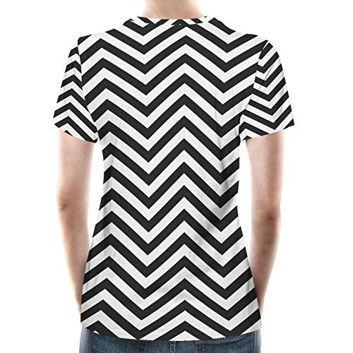 Chevron Stripes Women Cotton Blend T-Shirt Damen XS-3XL Black HYJuXH3gh