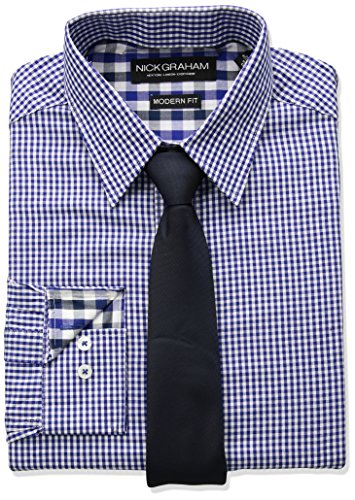 Nick Graham Men's Mini Gingham Check Dress Shirt With Solid Tie Set, Blue, 15.5