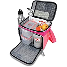Fitmark Box Meal Prep Insulated Bag with BPA Free Portion Control Meal Containers, Reusable Ice Packs, and Shaker Cup, Pink