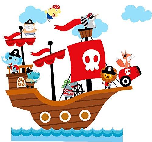 Amazon.com: Cartoon Animal Pirate Ship Wall Art Decal Pirate Animal ...