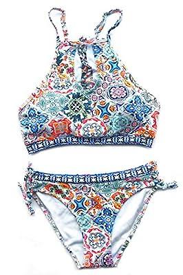 CUPSHE Women's Floral Printing Cutout Bikini Set