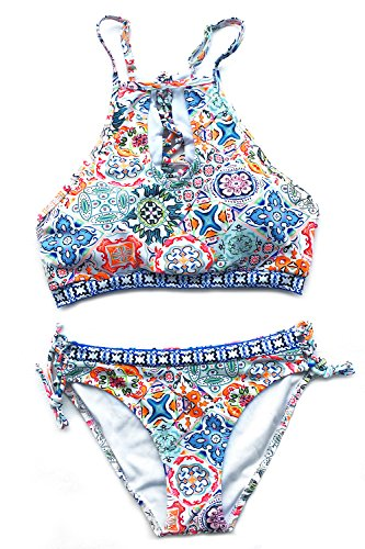 Cupshe Fashion Women's Floral Printing Cutout Bikini Set