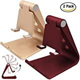 2 Packs Multi-Angle Adjustable Cell Phone Stand, SourceTon Portable Adjustable Desk Stand Mount for iPhone 7 6 6s 7 plus,Android Smartphones, Tablet, Color in Red and Gold