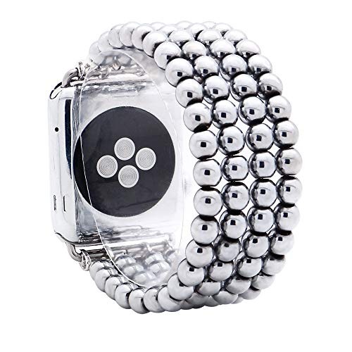 KAI Top Compatible with iWatch Band 38mm 42mm, Unisex Fashion Handmade Beaded Elastic Jewelry Bracelet Band Strap Replacement iWatch Bands Series 3 2 1 (Silver 6mm Bead, 42mm)