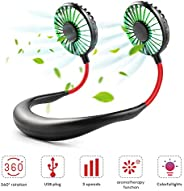 Hands Free Neck Fan,Rechargeable Mini USB Fan,Headphone Design Personal Pocket Fan with 3 Speeds Adjustable an