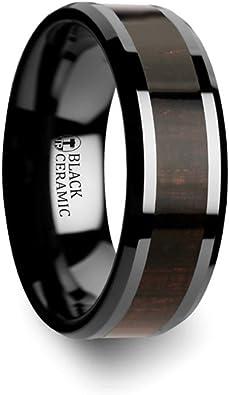 Thorsten Landon Domed Polish Finished Black Ceramic Ring 12mm Wide Wedding Band from Roy Rose Jewelry