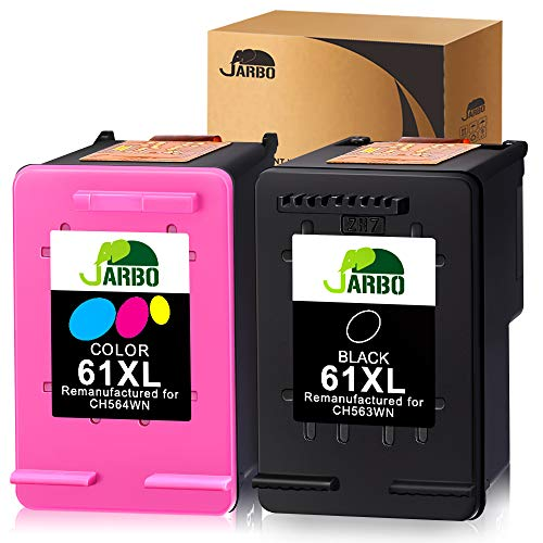 JARBO Remanufactured Ink Cartridge Replacement for HP 61 61XL 61 XL, Use with Envy 4500 5530 5534 5535 Deskjet 2540 1000 1010 1512 1510 3050 Officejet 4630 2620 4635, 1 Black+1 Tri-Color