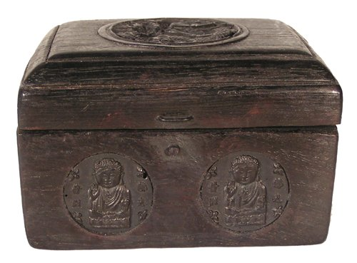 - Tibetan Wood Dragon Crystals Box & Carved Buddhas