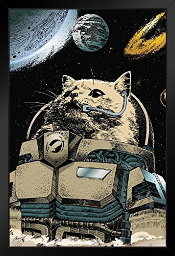 Cat Astronaut Exploring Outer Space Art Print Framed Poster by ProFrames 14x20 inch (Astronaut Framed)