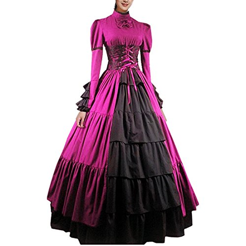 (Partiss Women Bowknot Stand Collar Gothic Victorian Dress Costumes,XS,Rose)