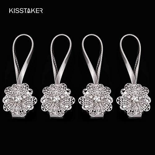 KISSTAKER Magnetic Tieback, Crystal Curtain Holdbacks Blossom Diamond Clips with Stretchy Wire Rope for Home Office Decoration,Silver (Pack of 4)