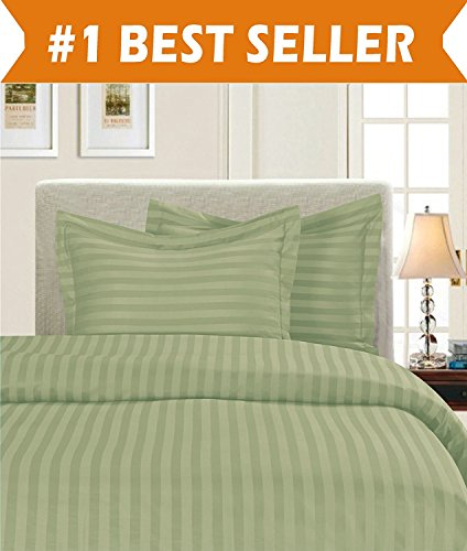(Elegant Comfort 1500 Thread Count Egyptian Quality Silky Soft Luxury 3-Piece Stripe Duvet Cover Set, King/California King, Sage/Green)