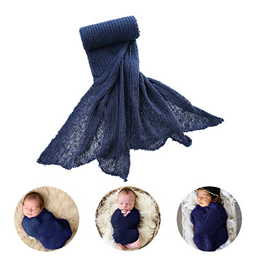 ARLAYO Newborn Baby Photography Props Cotton Stretch Wrap Fashion Styling Props (Navy)
