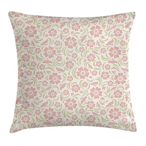Flower Throw Pillow Cushion Cover, Vintage Old Fashioned Floral Pattern Silhouettes Briar Shrubs Roses Retro, Decorative Square Accent Pillow Case,Rose Pale Green White ()