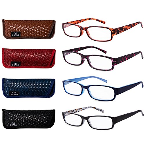 EYEGUARD Readers 4 Pack of Thin and Elegant Womens Reading Glasses with Beautiful Patterns for Ladies 1.00